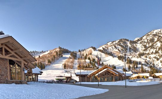 Snowbasin Plaza, the heart of the resort, puts dining, snowsports school, retail and more within steps of each other. Photo: Snowbasin, A Sun Valley Resort.
