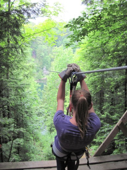 Zip lining in Canada's Outaouais Region, Quebec with kids