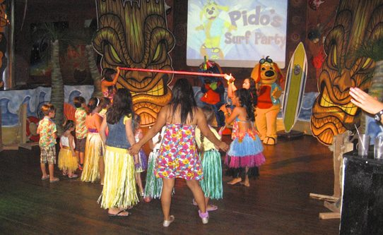 Raggs character Pido hosts a surf-themed kids' dance party each Monday night.